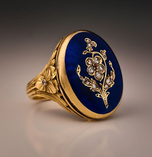 Antique French Enamel Poison Locket Ring c. 1890 - Antique Jewelry | Vintage Rings | Faberge Eggs