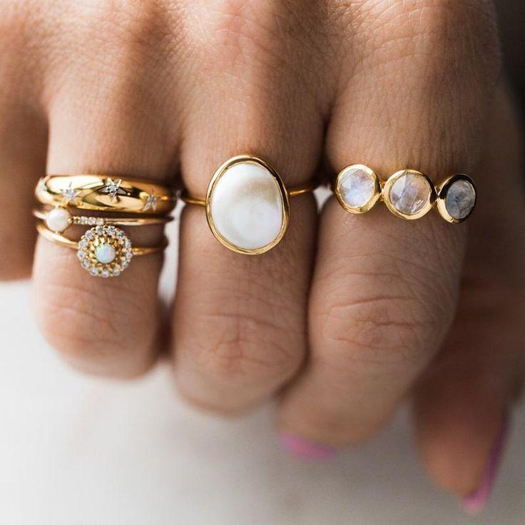 Einfacher Semi Precious Pearl Ring