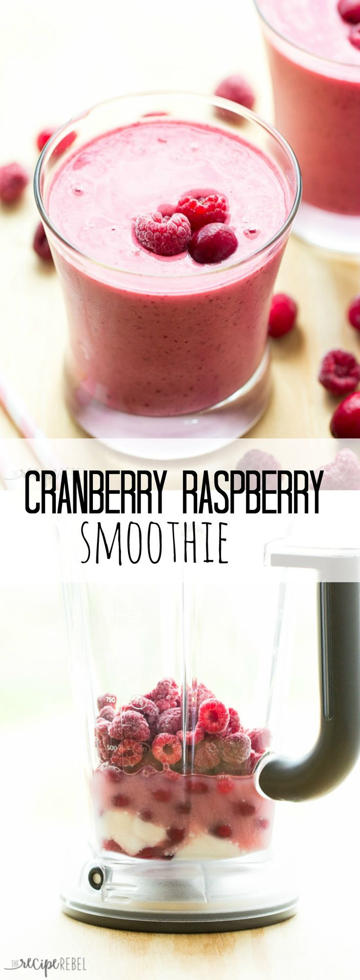 A sweet, tangy and creamy cranberry raspberry smoothie made with few, simple ingredients — the perfect snack or breakfast! Plus a review of the KitchenAid Torrent Blender.
