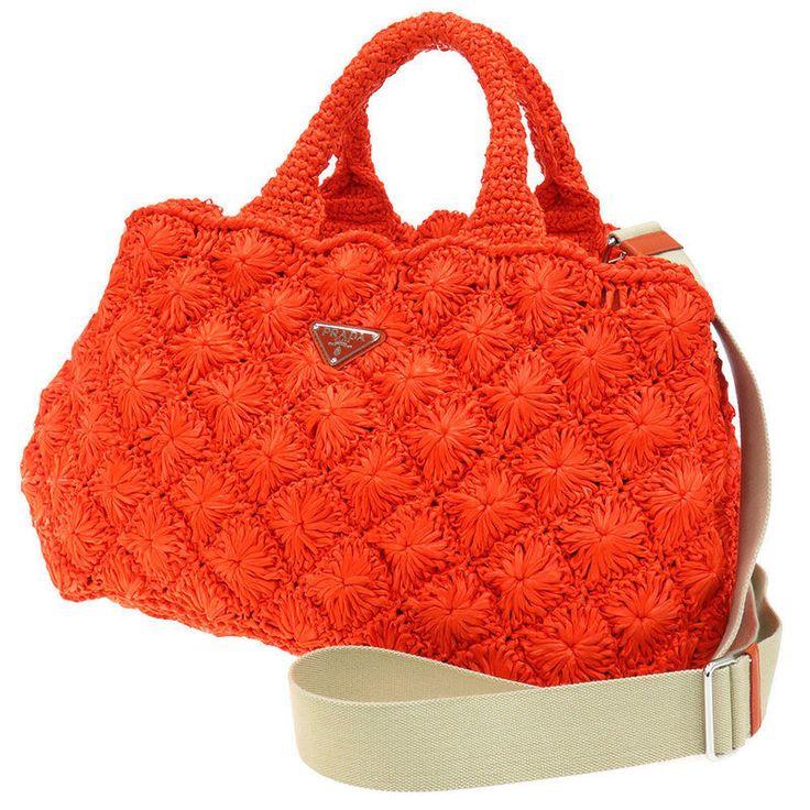 PRADA Tote Bag Canapa 2way Shoulder Bag Orange Rafia Handbag Authentic 3606186  | eBay