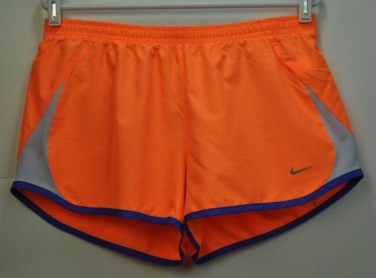 Nike Orange Lined Track Running Shorts Womens size Large L Blue Gray  #Nike #Shorts
