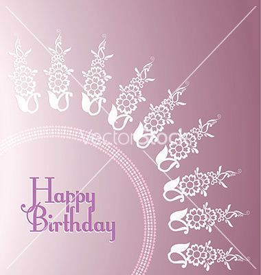 Purple floral birthday card templates vector Ready to use for prints, media, web, easy to use and resizeable.