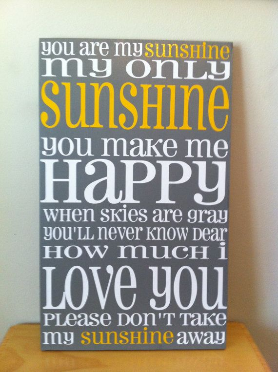 you are my sunshine // grey and yellow typography wall art // subway art // kitchen decor