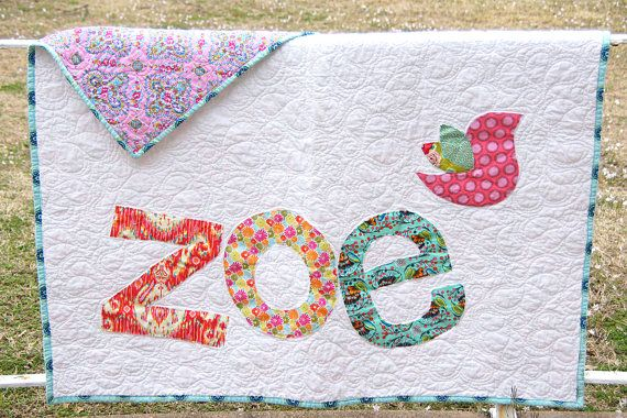 Personalized Quilt Custom Name Quilt Baby Quilt Raw
