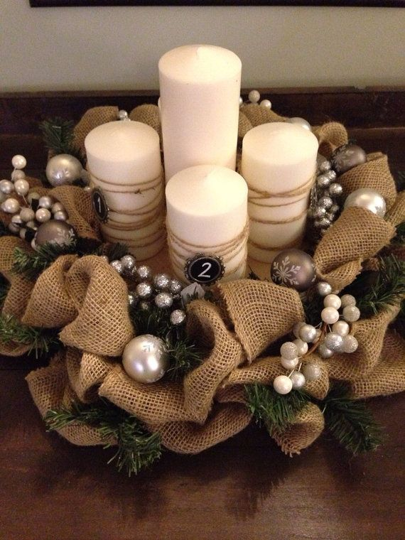 This is an 18 inch, burlap Advent Wreath with evergreen intertwined. The wreath is adorned with a variety of accents. Berries and ornaments are different shades of silver, grey and white. The wreath comes with 5 candles. Four candles are labeled for the 4 Sundays before Christmas. The center candle is the last candle to light on Christmas Eve or Christmas Day. The candles are sitting on a wooden stump, placed in the center of the wreath. This is also included.