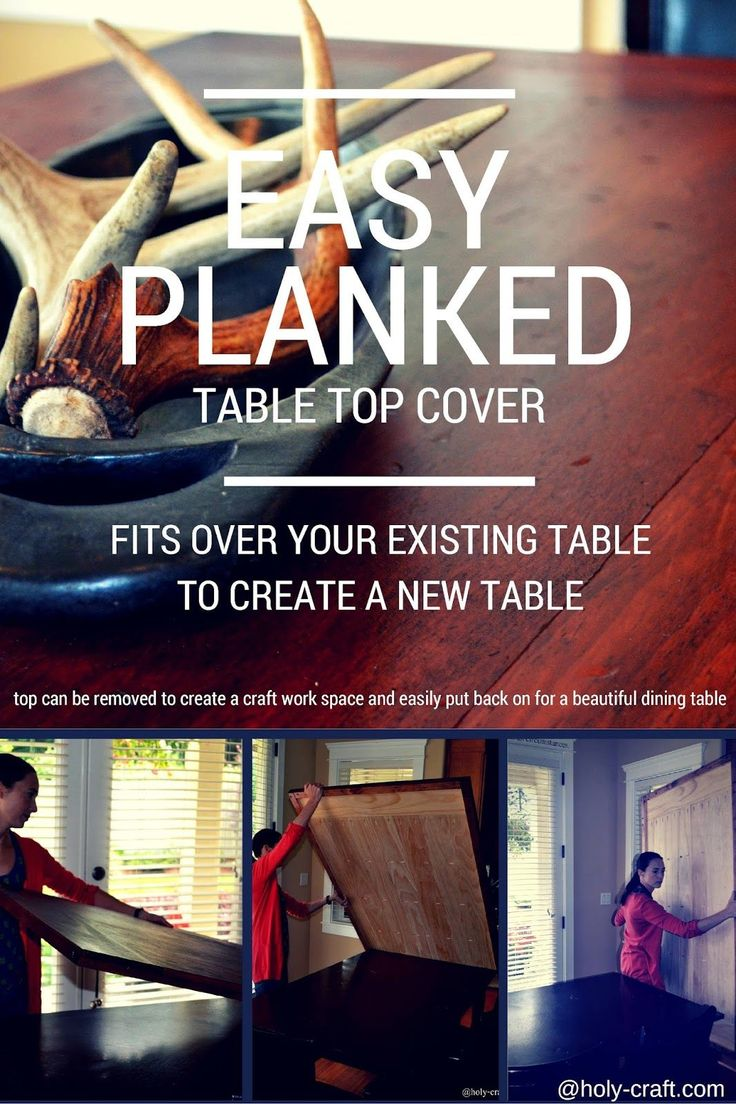 DIY Easy Planked Table Top Cover! Fits over your existing table to create a new table!