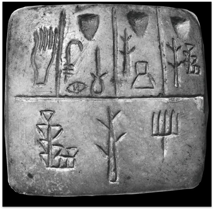 early sumerian pictographic tablet 3100 BCE Clay Tablet  Carved using a wedged stylus Sumeria