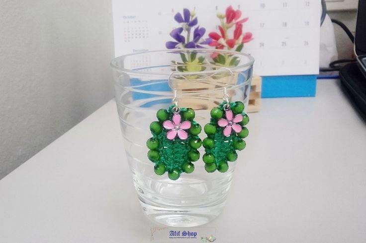 SUPER SALE /Green Crochet Earrings /Bead earrings /Textile Accessories /Flower Charm /Pierced Earrings /Dangle earrings /Gift for her by AfifShop on Etsy