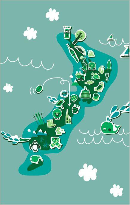 Air New Zealand map illustration - Claudia Carieri