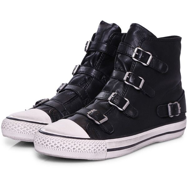 Ash Sneakers Virgin Buckle Black (255 BRL) ❤ liked on Polyvore featuring shoes, sneakers, black, converse, leather hi top sneakers, leather high tops, high top sneakers, high top zipper sneakers and black strappy shoes