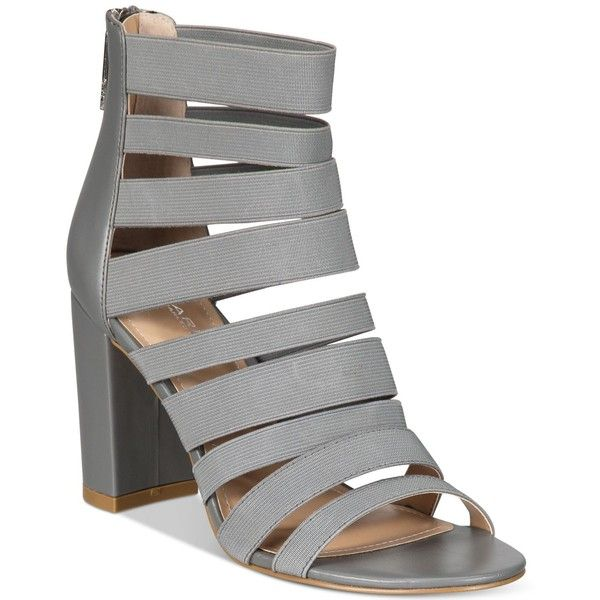 Charles By Charles David Ericka Strappy Block-Heel Sandals ($119) ❤ liked on Polyvore featuring shoes, sandals, stone grey, gray sandals, strappy sandals, grey heeled sandals, grey shoes and gray strappy sandals