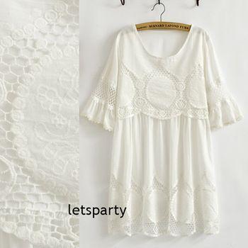 Винтаж 70 s ангел со всех сторон вырез крючком вышивка мексиканская Boho мини платье белый хлопок топ женщин свободного покроя блузка бесплатная доставка