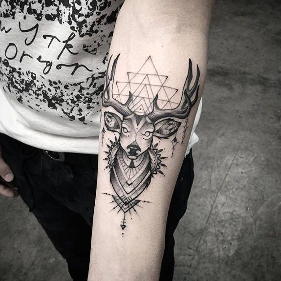 Geometrical swamp deer tattoo by Elizabeth Markov