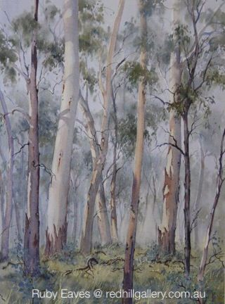 "Ruby Eaves watercolour painting ""Hahndorf Gums"" Red Hill Gallery, Brisbane. redhillgallery.com.au"