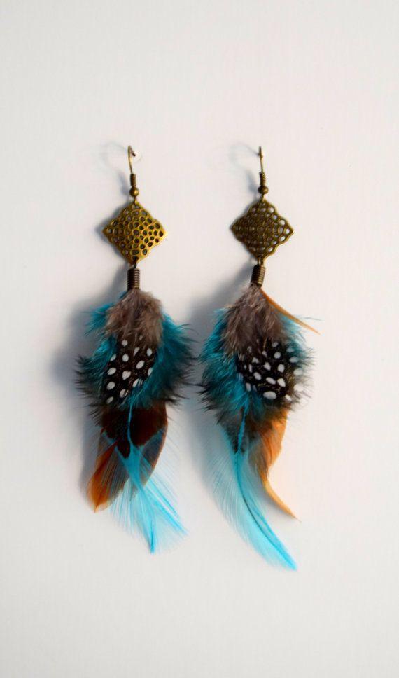 Paires de boucles d'oreille en plumes naturelles par ETHNICFEATHER