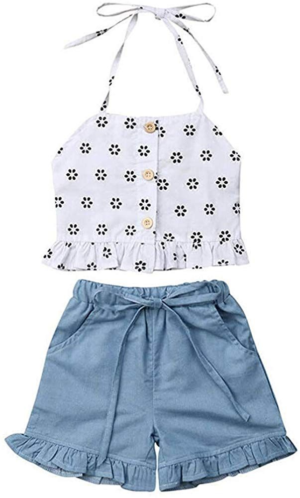 2PCS Toddler Kids Baby Girl Floral Long Sleeve Top Denim Blouse Skirt Outfit Set