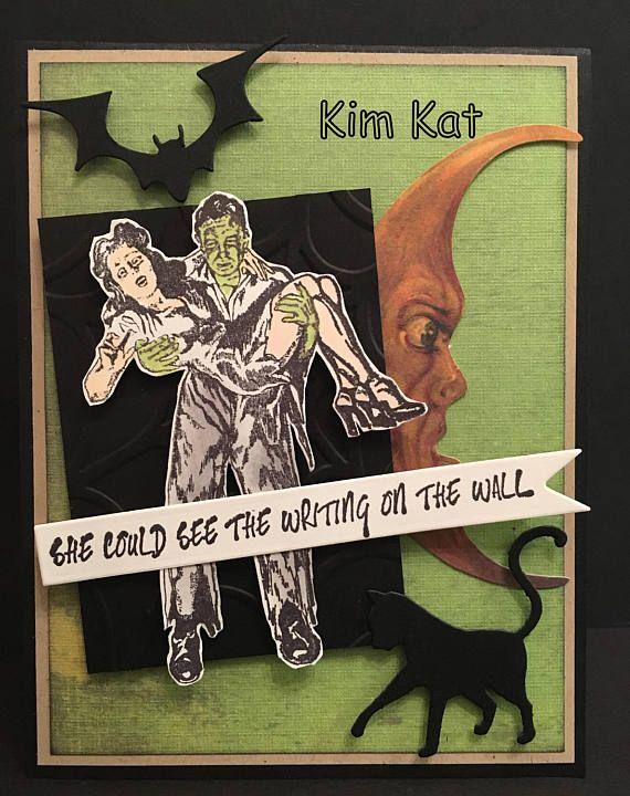 Retro Halloween Card Zombie Pin Up Pop Up 3D Art She Could See