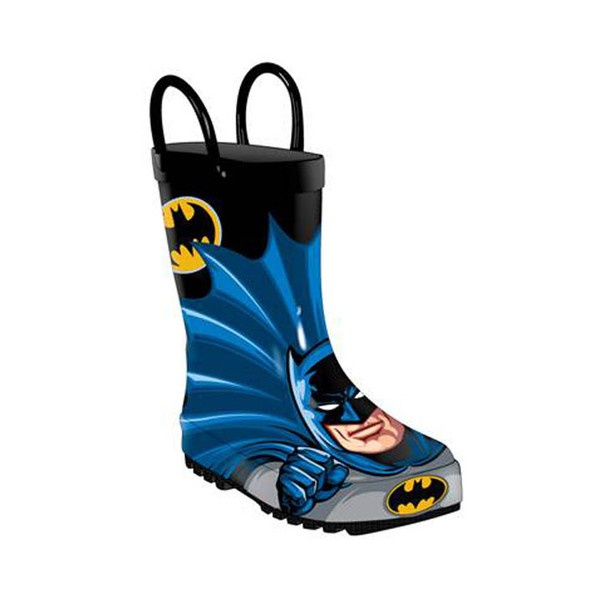 The Batman Caped Kids Rain Boots feature your favorite DC hero Batman right on the front of the boot ready for action! And there is even a cape you can attach for the back!