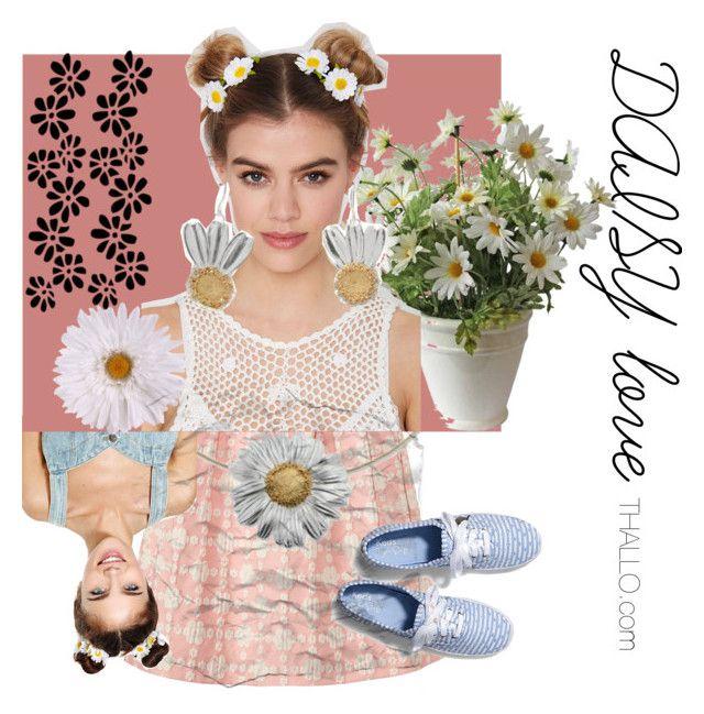 daisy love @thallo.com by thallo on Polyvore featuring Orla Kiely, Keds, NOVA, Daisy, daisyjewelry and daisylove