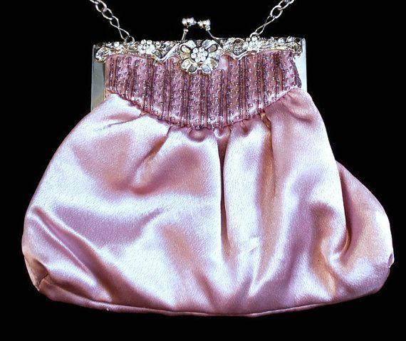 Vintage Pink Satin Evening Bag Pink Satin by HeidisTreasureChest