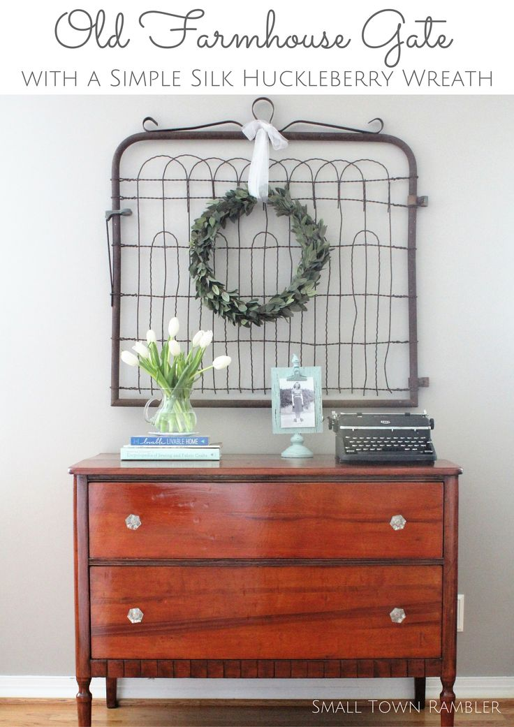 Old farmhouse gate with a simple silk huckleberry wreath- Small Town Rambler