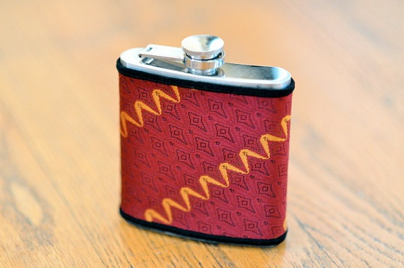Flask Vintage Necktie Covered Flask  6oz  Red and by KeelanRogue, $28.00: Flasks 6Oz, Flasks Vintage, Covers Flasks