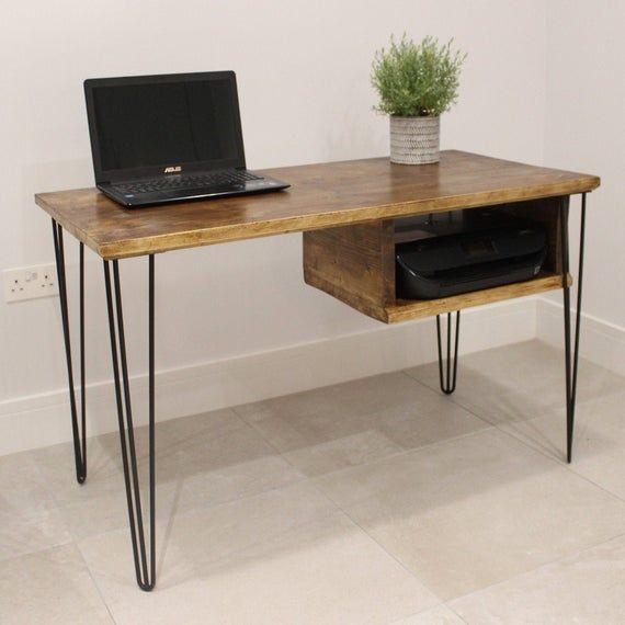 Wooden Desk With Printer Shelf Etsy Wooden Desk Diy Desk Industrial Style Desk