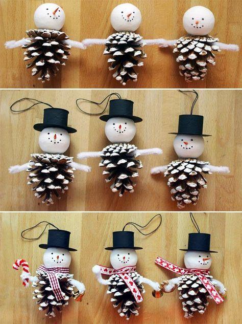 Снеговик из шишек своими руками