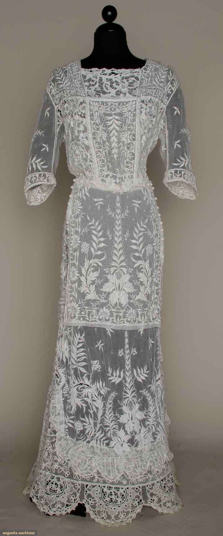 White Embroidered Lace Tea Gown c. 1912. - more → http://sherryfashiondesignblog.blogspot.com/2012/04/white-embroidered-lace-tea-gown-c-1912.html