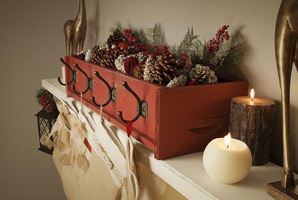 DIY Decor: Decorative Stocking Holder on a Rustic Christmas Mantel