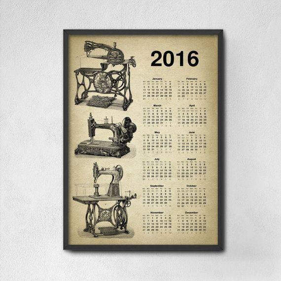 Vintage Sewing Machine Calendar 2016  Sewing por QuantumPrints