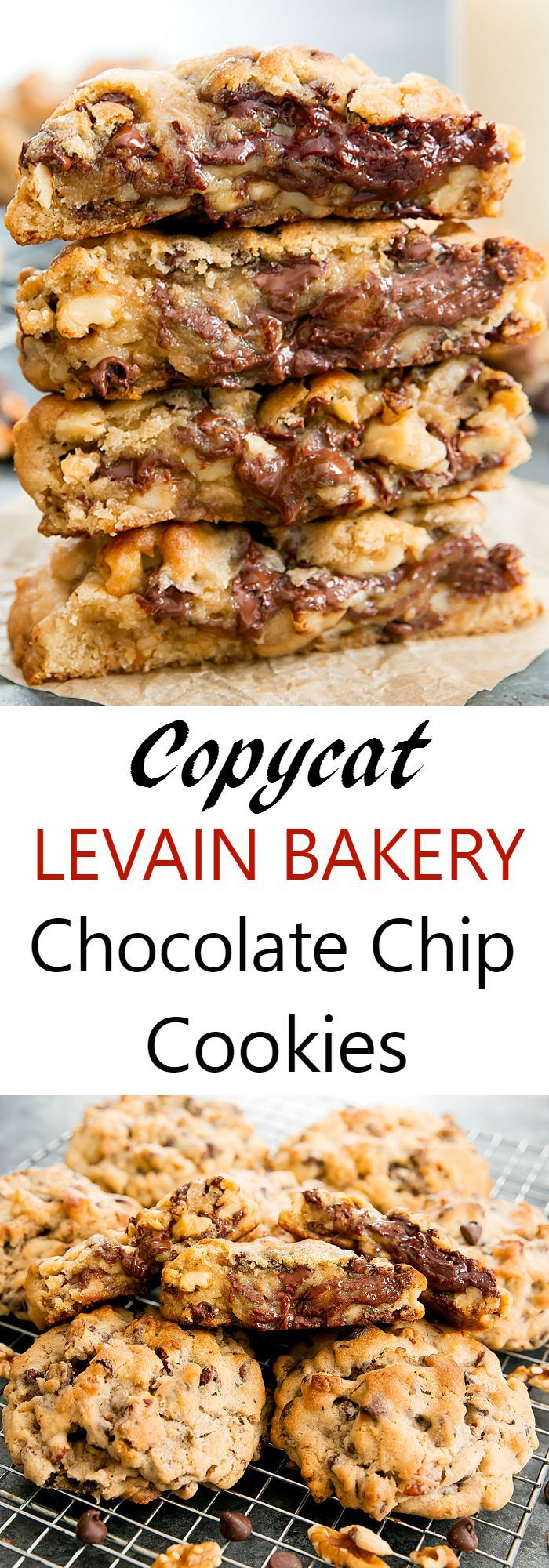 Levain Bakery Chocolate Chip Walnut Cookies. A copycat recipe you can make at home that tastes like the famous ones from NYC!