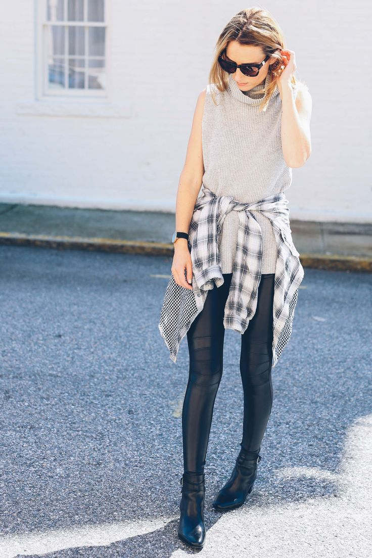 Leather leggings and plaid for fall
