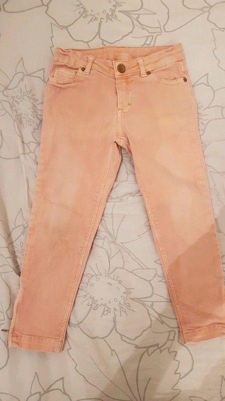 31cc1d5af16 Jean slim Zara Orange délavé Fermetures éclair en bas du pantalon  Elastiques pour rétrécir la taille