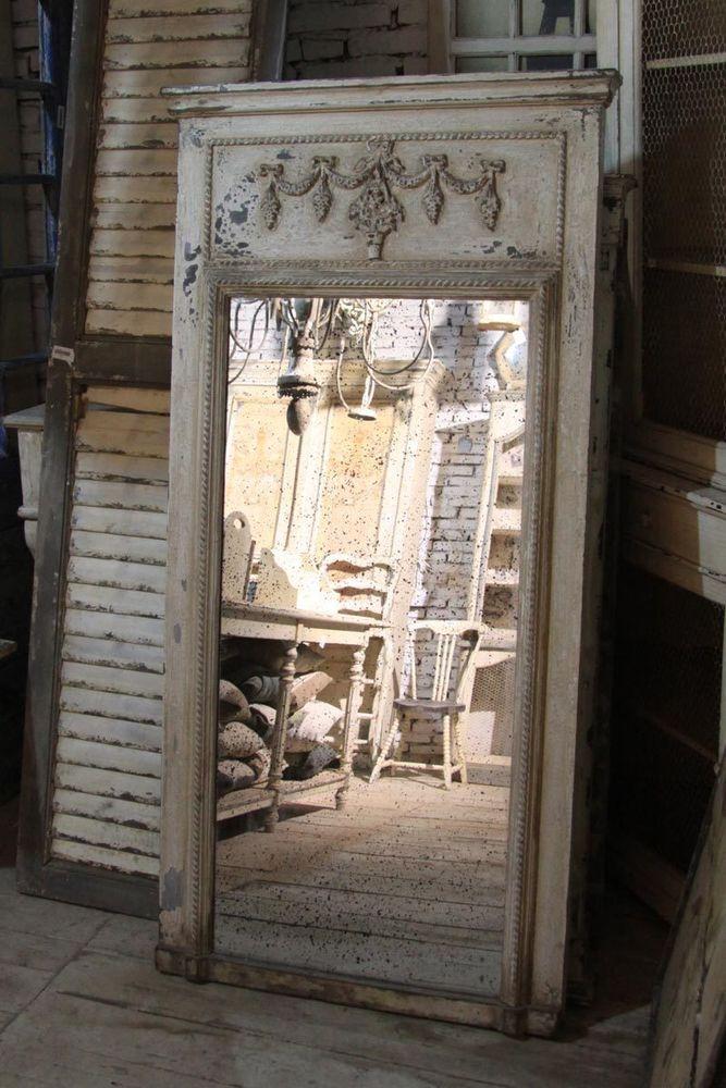 chic antique spiegel antik wei holzrahmen shabby vintage. Black Bedroom Furniture Sets. Home Design Ideas