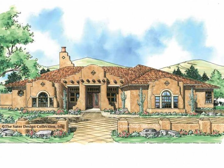 66 best spanish colonial haciendas images on pinterest for Adobe hacienda house plans