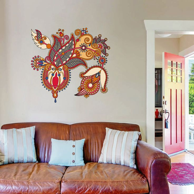 Cik131 Full Color Wall Decal Flower Decoration Indian Living Room Bedroom