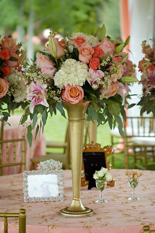 Peach cream and gold tower centerpieces with mini rose
