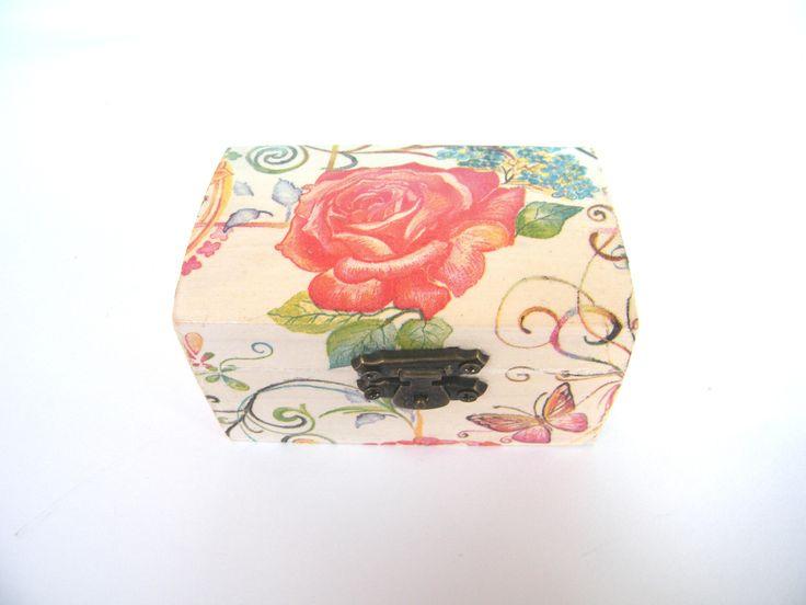 Wooden jewelry box, ring box, storage box, dragonfly and buterfly, wedding box, shabby chic, valentine gift, memory box, keepsake box, by KristanArt on Etsy