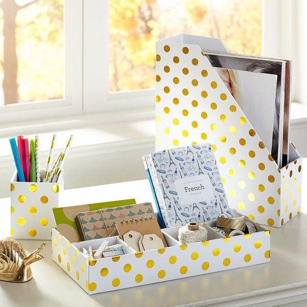 PB Teen Printed Paper Desk Accessories - Gold Dot at Pottery Barn Teen... ($40) ❤ liked on Polyvore featuring home, home decor, gold home accessories, gold tray, polka dot home decor, gold home decor and pbteen
