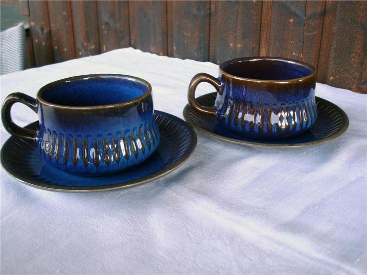 kosmos tekoppar Gefle blått retro porslin 60-70-tal på Tradera.com -