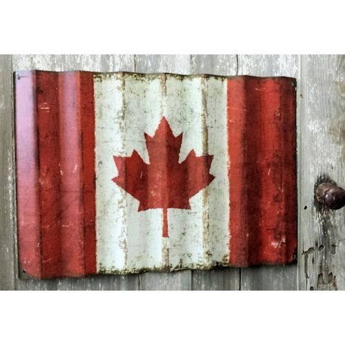 Corrugated Metal Vintage Style Canada Flag | A Simpler Time
