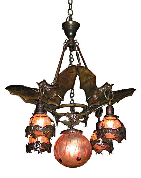 Art Nouveau bat chandelier.