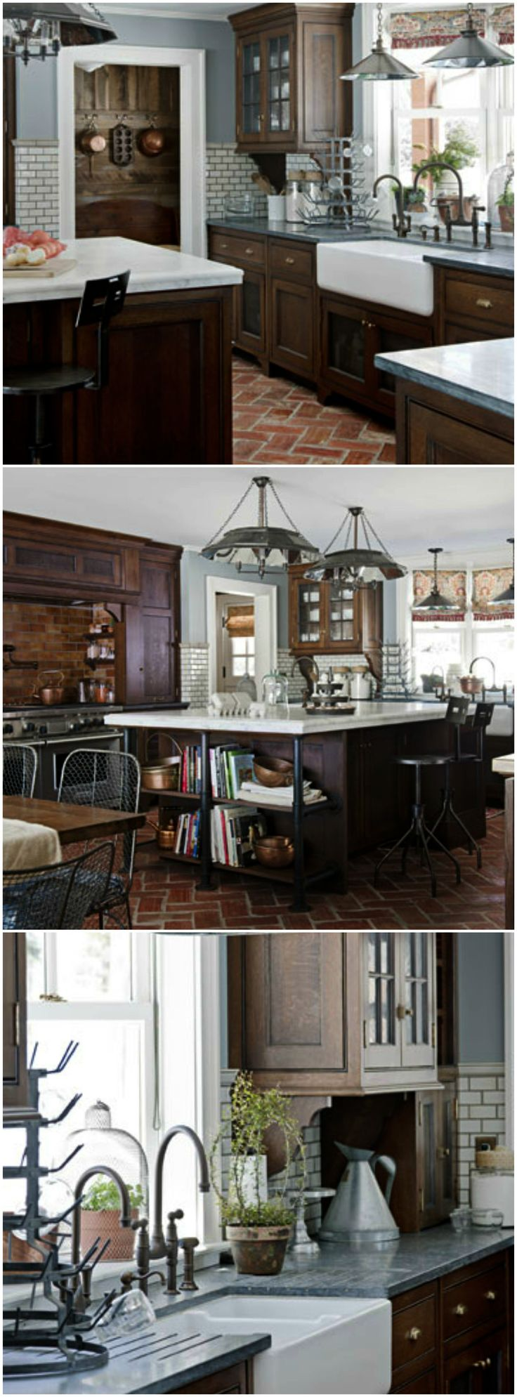 Modern farmhouse kitchen with quatersawn oak cabinets and industrial accents.