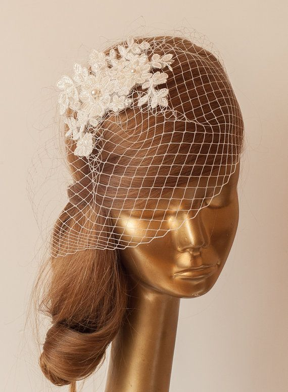 BIRDCAGE VEIL. Ivory veil .Romantic Wedding Headpiece with beautiful,delicate LACE Flowers.Bridal Fascinator
