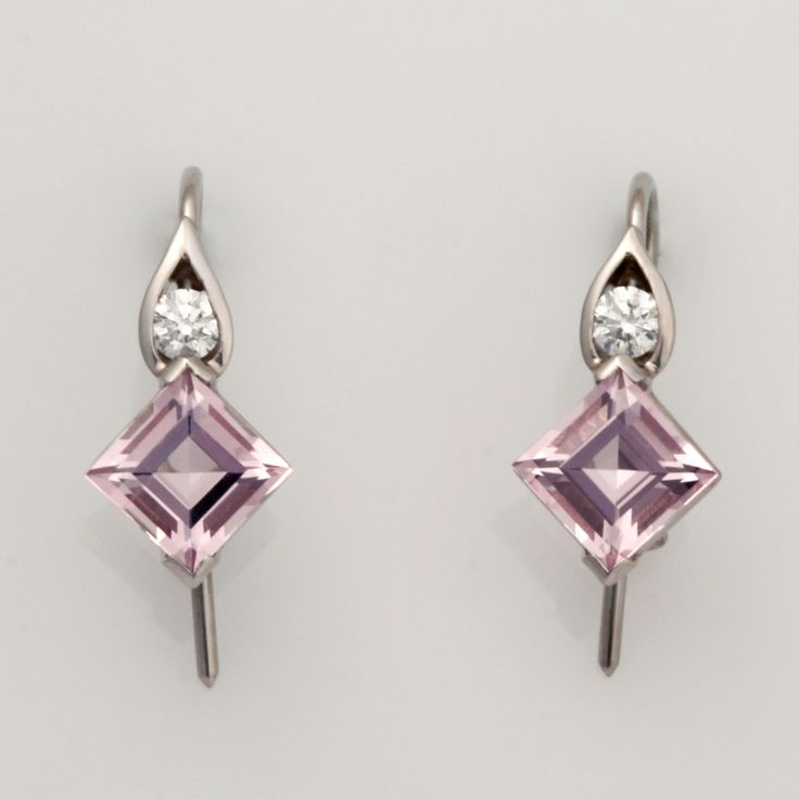 Handmade ladies palladium drop earrings featuring morganite and diamond www.robertpaul.com.au