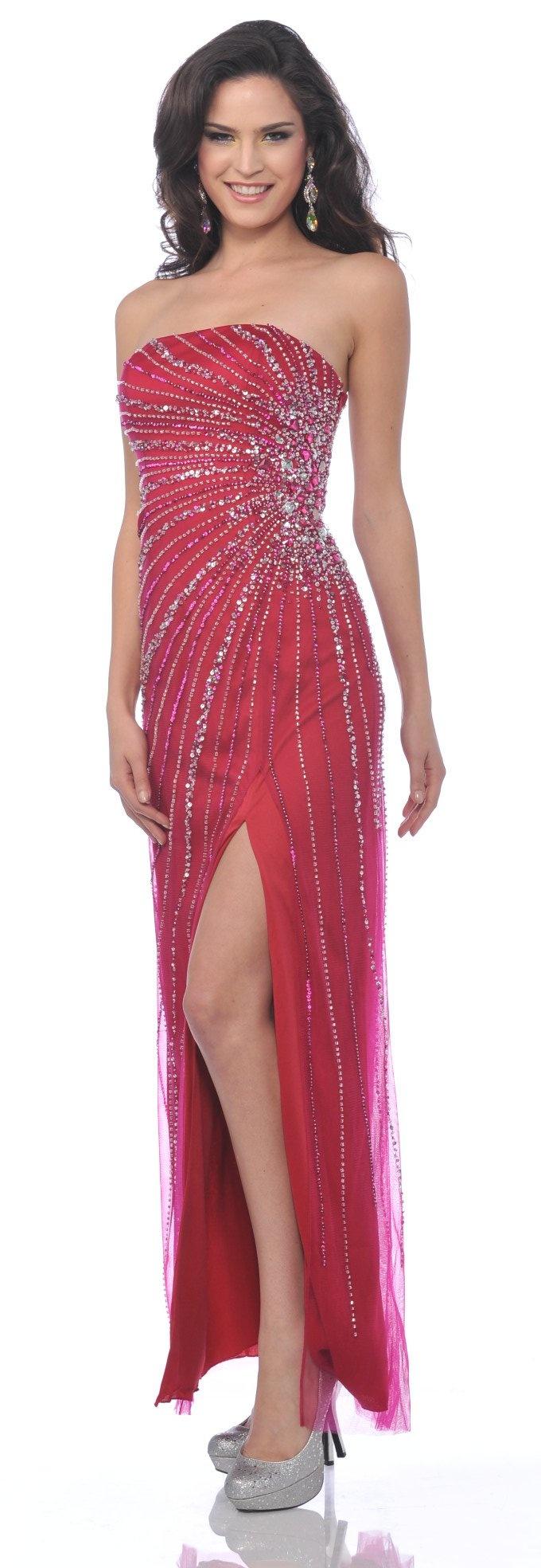 Strapless Fuchsia Rhinestone Jewel Long Formal Dress Sexy Front Slit $297.99