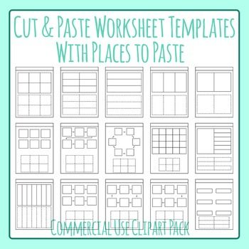 Cut and Paste Worksheet Templates - Spots to Paste Clip Art for ...