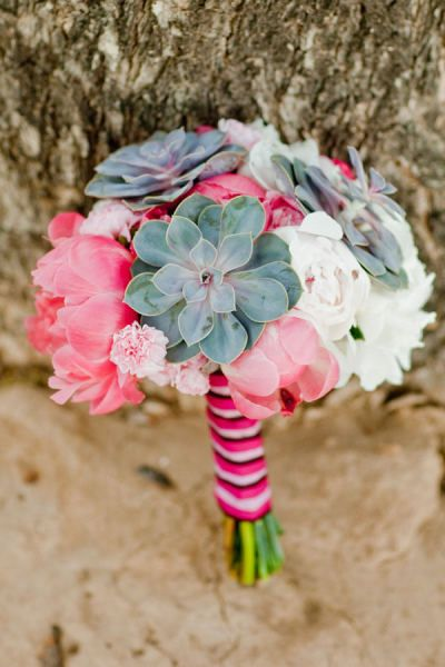 Pink and blue succulent bouquet