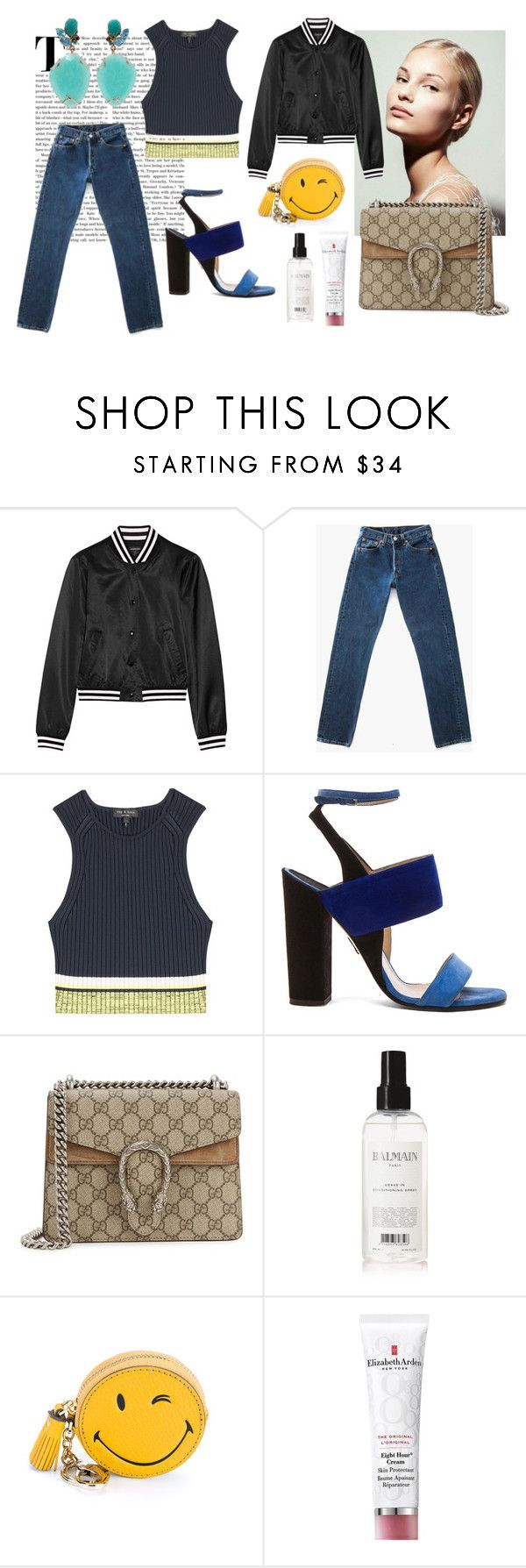 """""""Subtle colorblock"""" by jjanice on Polyvore featuring R13, Levi's, rag & bone, Paul Andrew, Gucci, Balmain, Anya Hindmarch, Elizabeth Arden and Federica Rettore"""